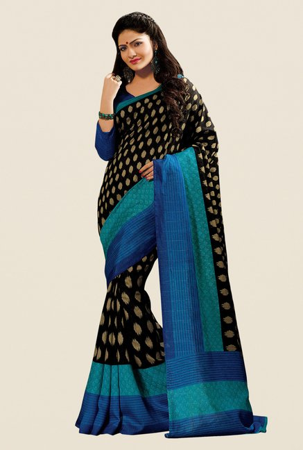Shonaya Black & Blue Cotton Silk Printed Saree