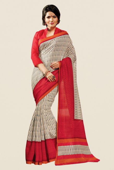 Shonaya Beige & Rust Cotton Silk Printed Saree