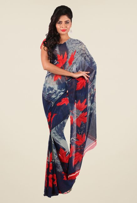 Shonaya Grey & Navy Georgette Printed Saree