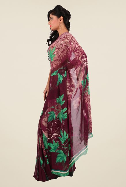 Shonaya Maroon & Green Georgette Printed Saree