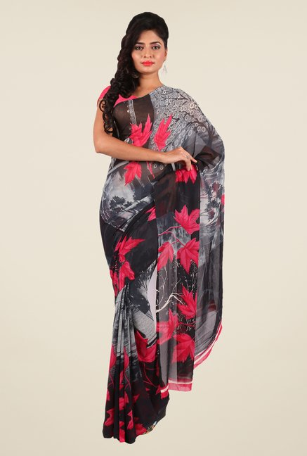 Shonaya Grey & Coral Georgette Printed Saree