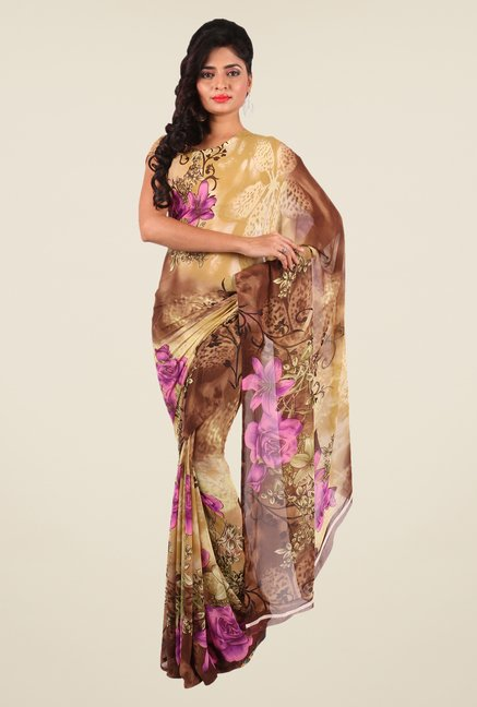 Shonaya Beige & Brown Georgette Floral Print Saree