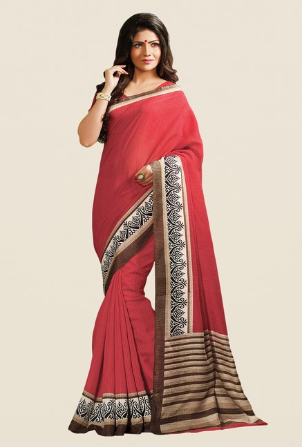 Shonaya Maroon Cotton Silk Printed Saree