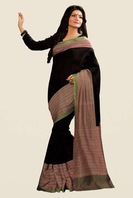 Shonaya Black & Beige Cotton Silk Printed Saree