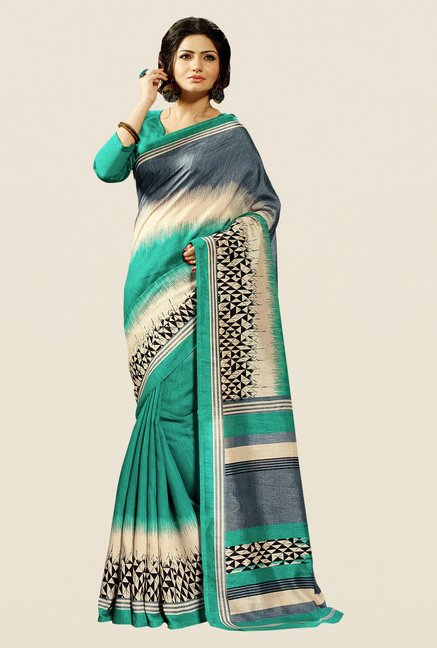Shonaya Turquoise Cotton Silk Printed Saree