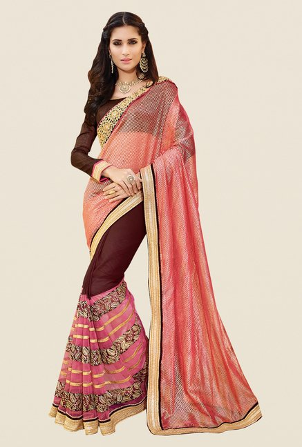 Shonaya Brown & Pink Georgette & Net Embroidered Saree