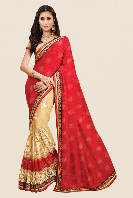 Shonaya Beige & Red Net & Chinon Embroidered Saree