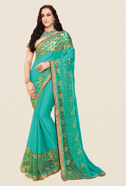 Shonaya Turquoise Chiffon Embroidered Saree