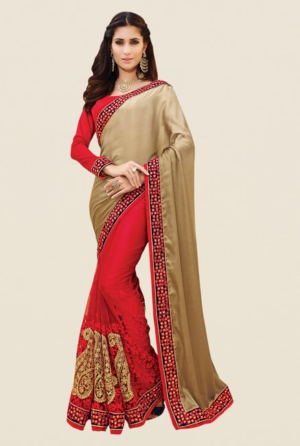 Shonaya Red & Beige Net & Georgette Embroidered Saree