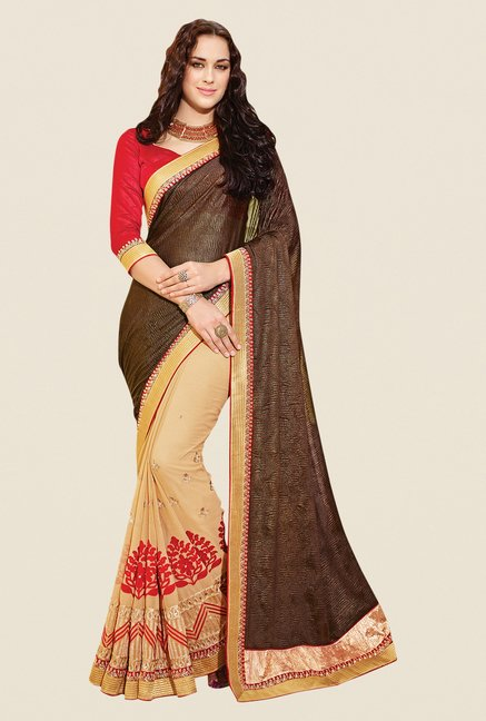 Shonaya Beige & Brown Chiffon Embroidered Saree