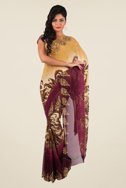Shonaya Beige & Purple Georgette Printed Saree