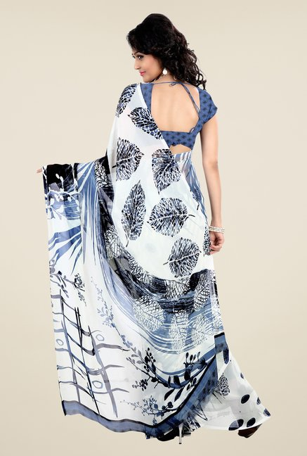 Shonaya White & Blue Faux Georgette Printed Saree