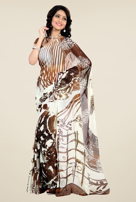 Shonaya White & Brown Faux Georgette Printed Saree