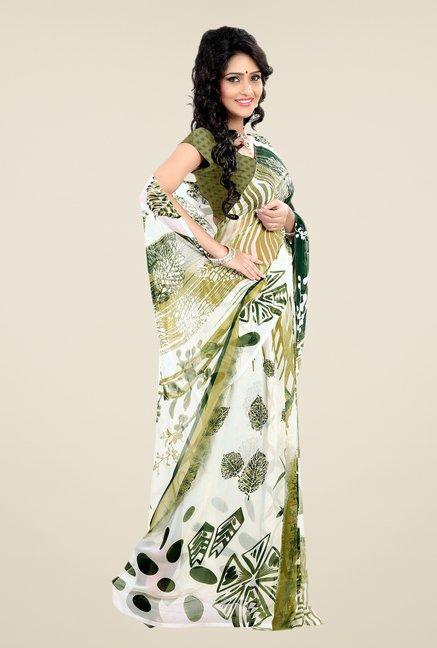Shonaya White & Green Faux Georgette Printed Saree