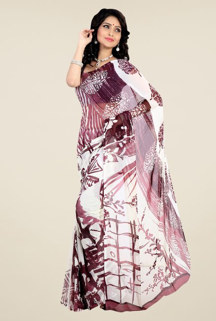 Shonaya White & Wine Faux Georgette Printed Saree