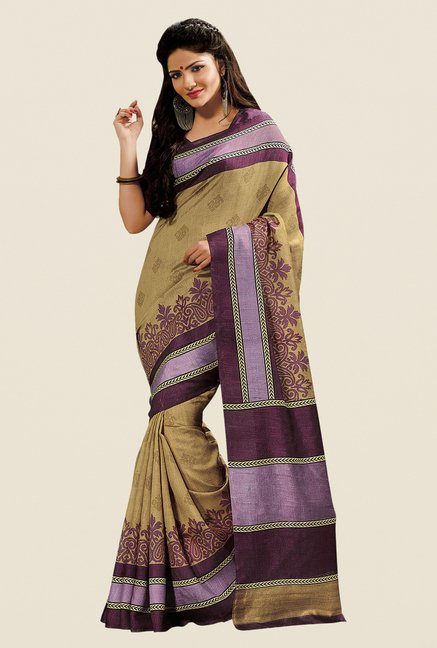 Shonaya Gold & Purple Cotton Silk Printed Saree