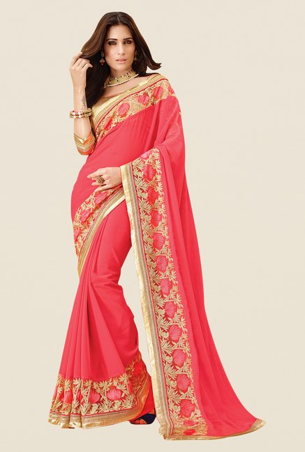 Shonaya Coral Chiffon Embroidered Saree