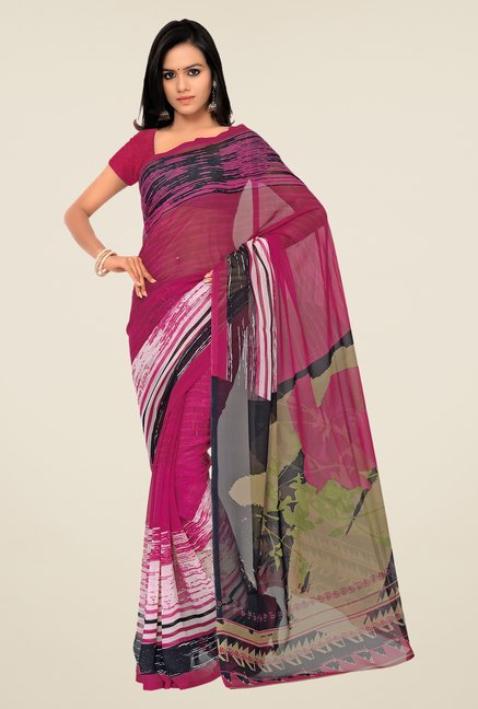 Shonaya Purple Georgette Printed Saree