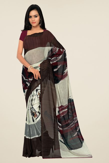 Shonaya Brown & Off-white Georgette Printed Saree