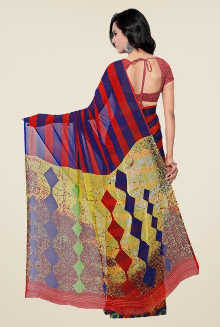 Shonaya Red & Blue Georgette Printed Saree