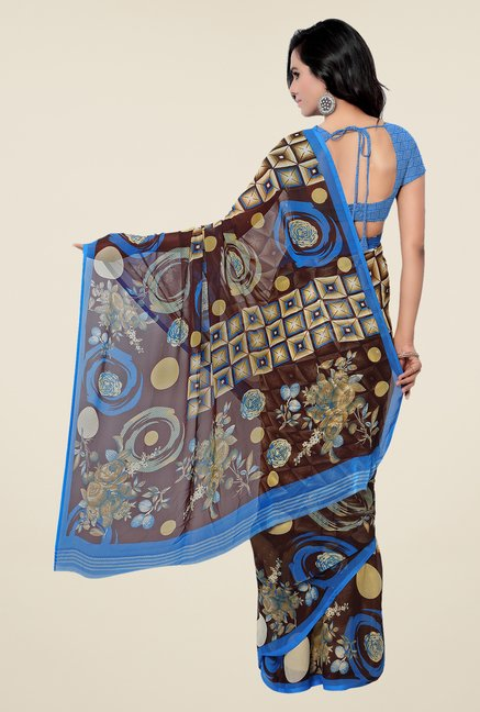 Shonaya Beige & Brown Georgette Printed Saree