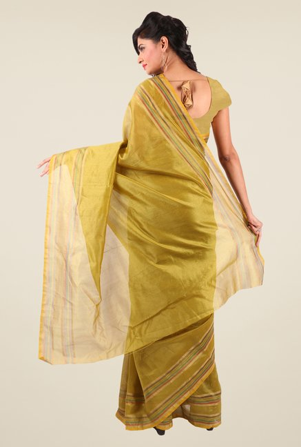 Shonaya Gold Art Silk Solid Saree