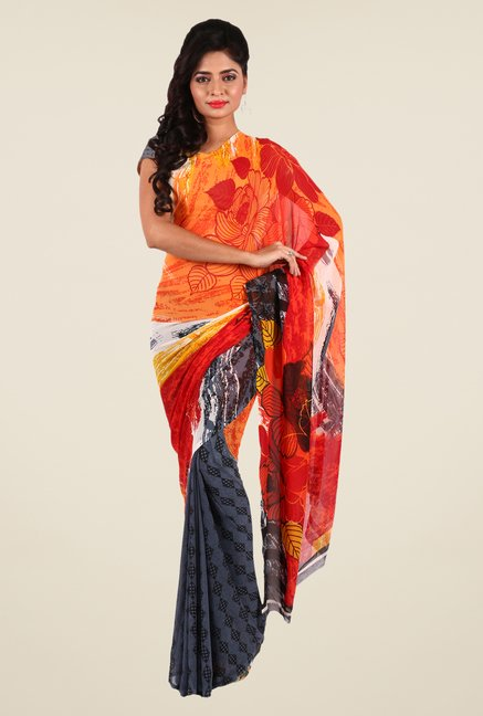 Shonaya Grey & Orange Georgette Printed Saree