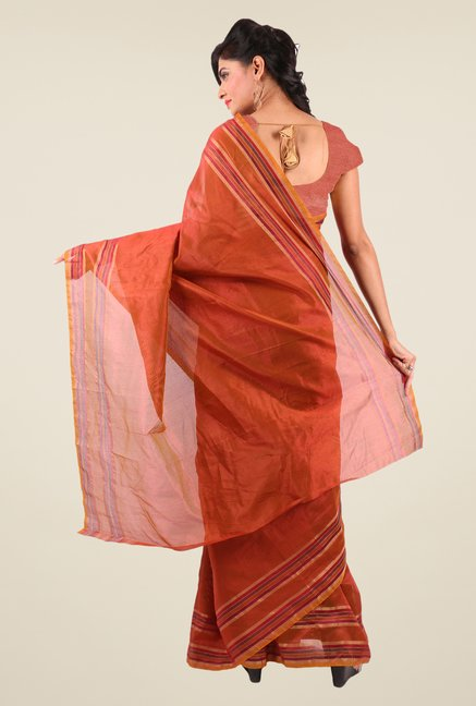 Shonaya Rust Art Silk Solid Saree