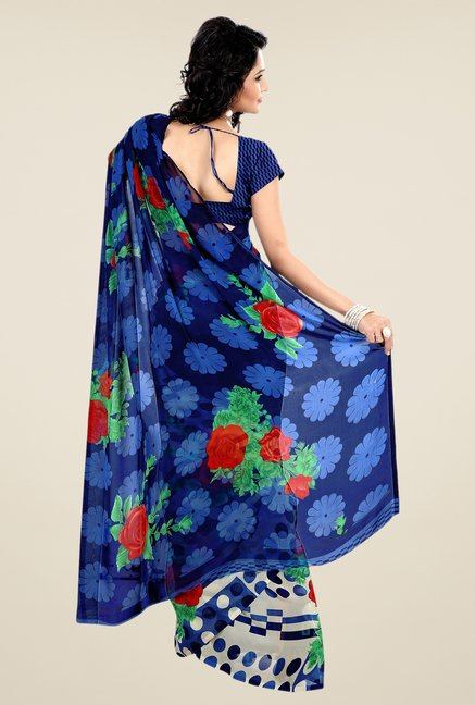 Shonaya Blue & Cream Faux Georgette Floral Print Saree