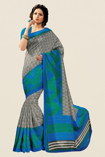 Shonaya Grey & Blue Cotton Silk Printed Saree