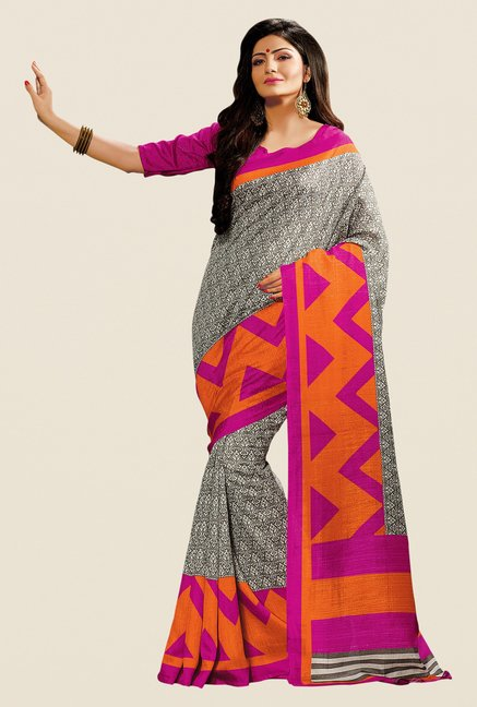 Shonaya Grey & Pink Cotton Silk Printed Saree