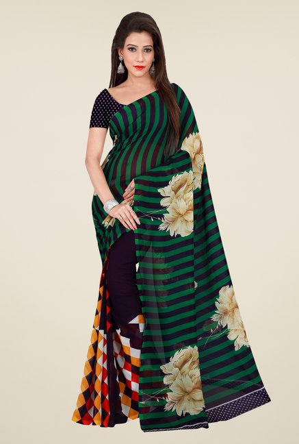 Shonaya Purple & Green Georgette Printed Saree