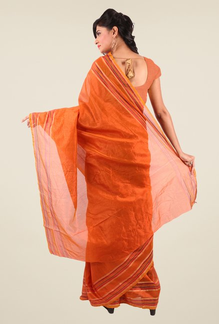 Shonaya Orange Art Silk Solid Saree