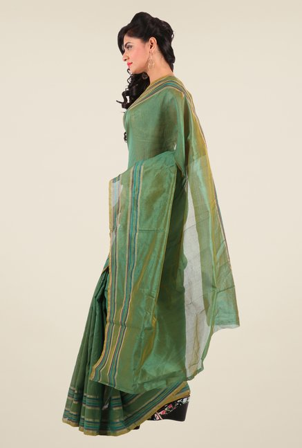 Shonaya Green Art Silk Solid Saree