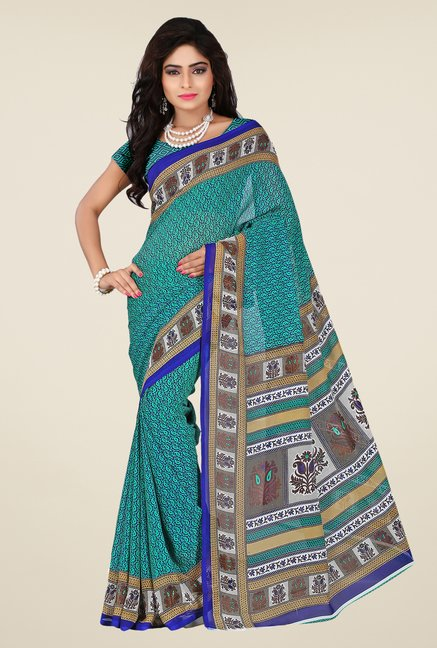 Shonaya Green Georgette Printed Saree