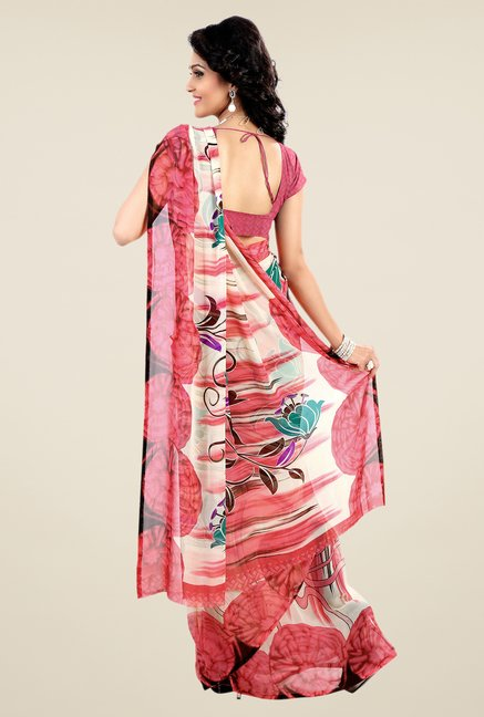 Shonaya Pink & Cream Faux Georgette Printed Saree