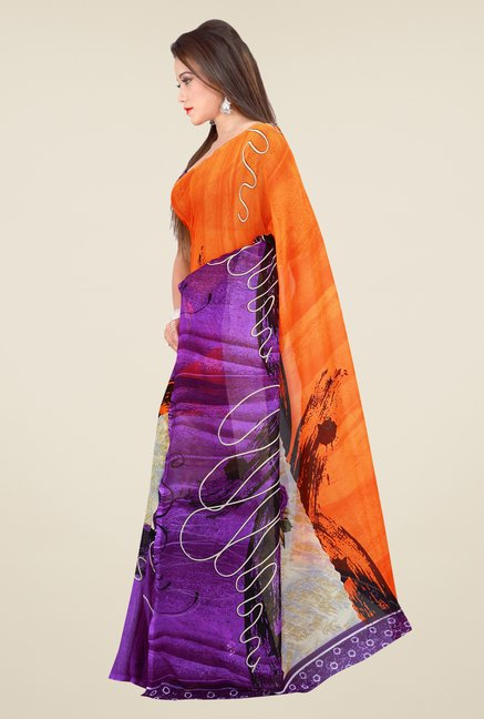 Shonaya Purple & Orange Georgette Printed Saree