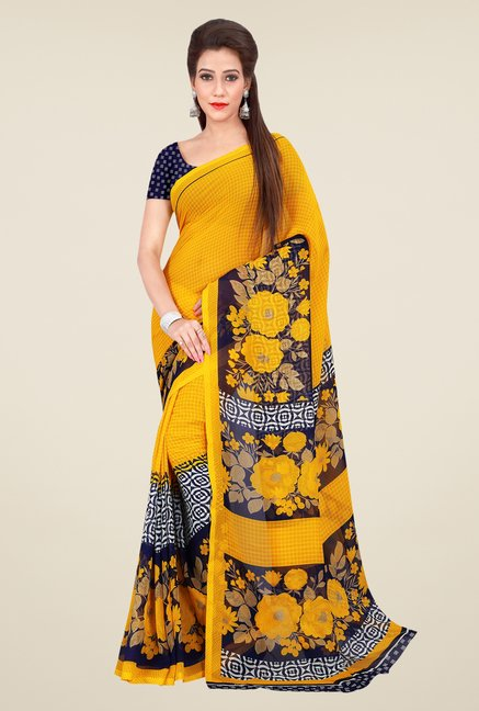 Shonaya Yellow Georgette Floral Print Saree