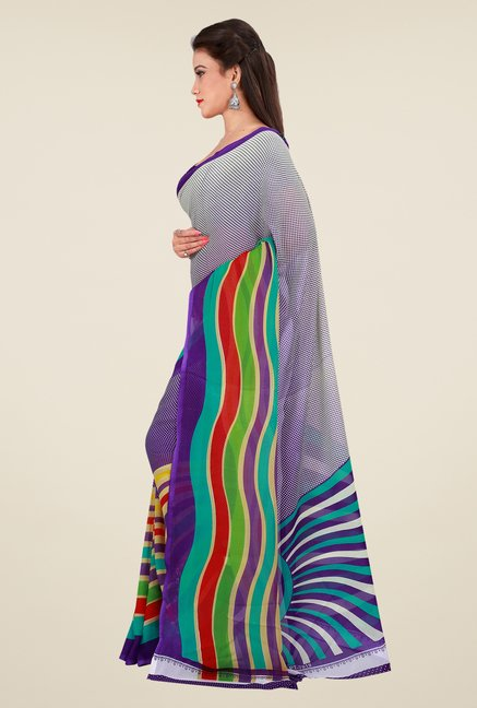 Shonaya Purple & Grey Georgette Printed Saree