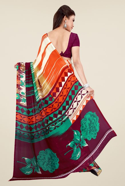Shonaya Purple & Orange Georgette Floral Print Saree