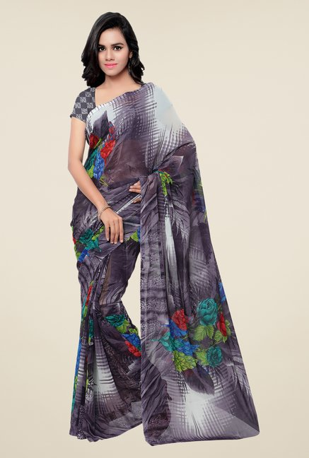 Shonaya Grey Georgette Printed Saree