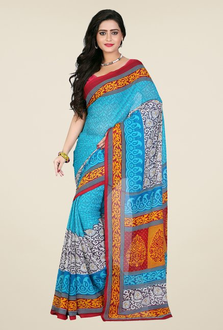 Shonaya Blue & Yellow Georgette Printed Saree