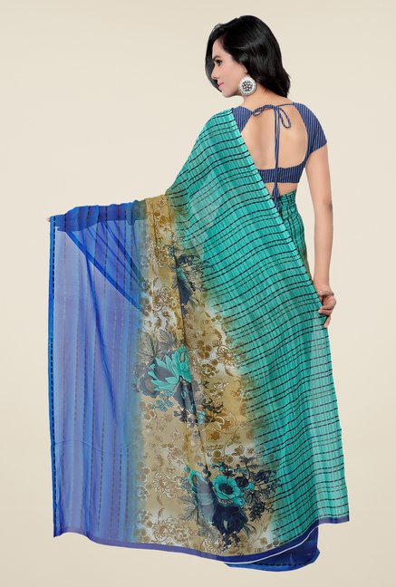 Shonaya Blue & Green Georgette Printed Saree