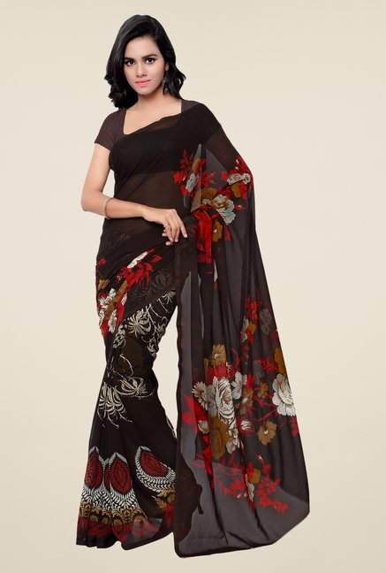 Shonaya Brown Georgette Printed Saree