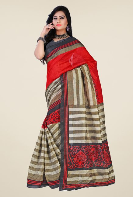 Shonaya Red & Beige Bhagalpuri Silk Printed Saree