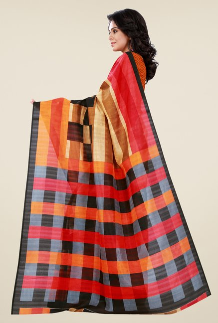 Shonaya Multicolor Bhagalpuri Silk Checks Saree