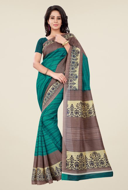 Shonaya Green & Tan Bhagalpuri Silk Printed Saree