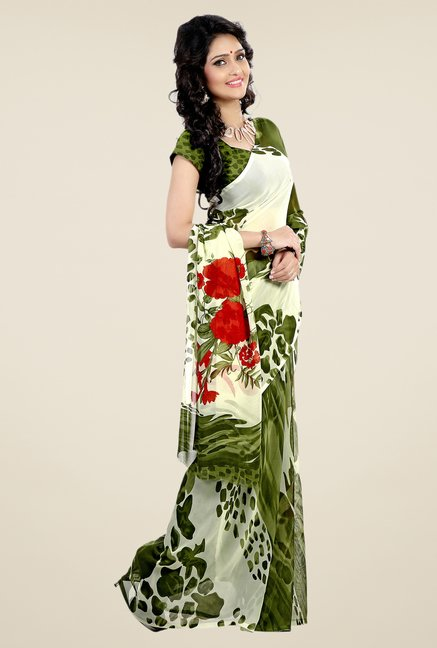 Shonaya Cream & Olive Faux Georgette Printed Saree