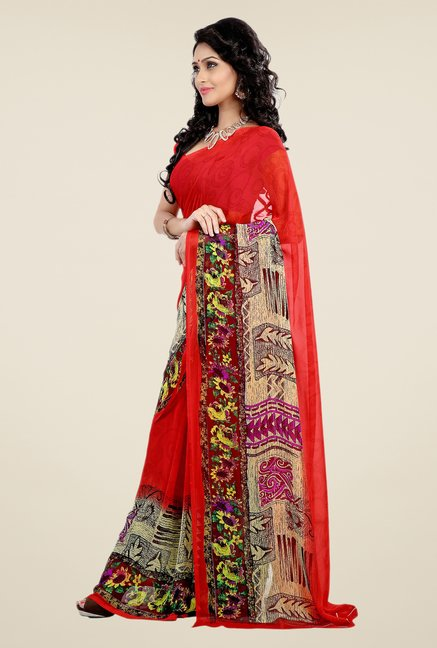 Shonaya Red Faux Georgette Printed Saree