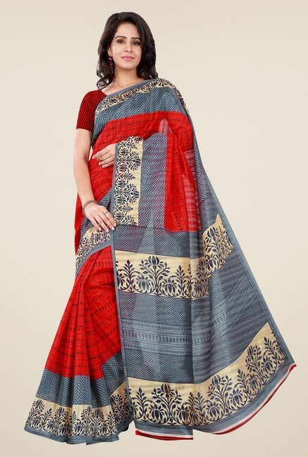 Shonaya Red & Grey Bhagalpuri Silk Printed Saree